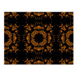 Black, Yellow copper Floral Damasks Retro Pattern Post Cards