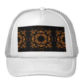 Black, Yellow copper Floral Damasks Retro Pattern Trucker Hat