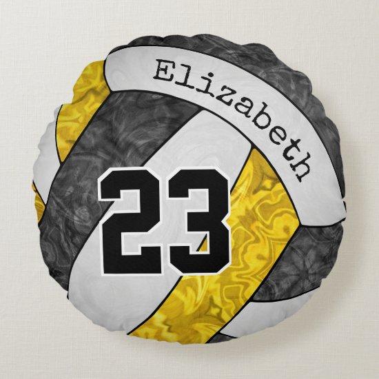 black yellow custom girls' volleyball team colors round pillow