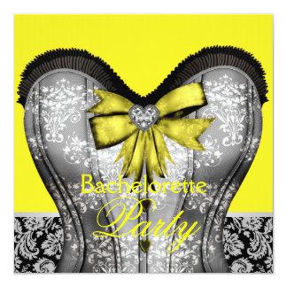Black Yellow Damask Corset Bachelorette Party Custom Invite