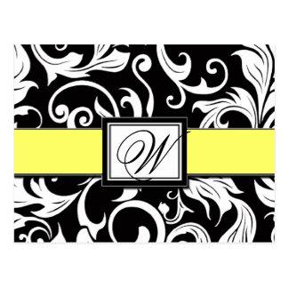 Black & Yellow Damask Wedding Save the Dates Postcard