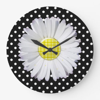 Black/Yellow Floral Polka Dots ACRYLIC WALL CLOCK
