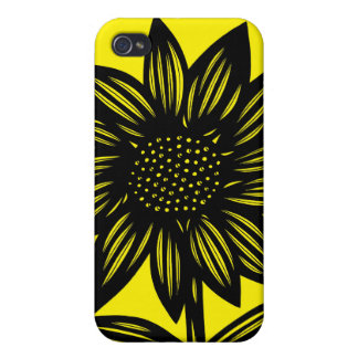 Black, Yellow, Flowers, Floral iPhone 4/4S Cover
