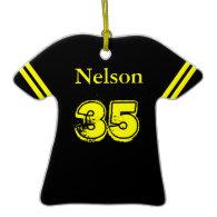 Black & Yellow Football Tee Ornament