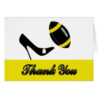 Black & Yellow Football Wedding Thank You Card