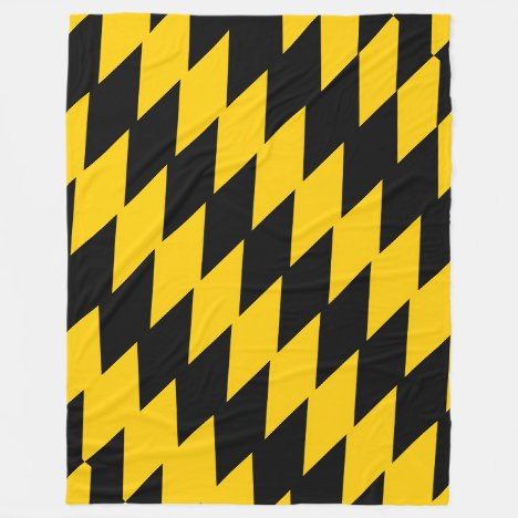 Black & Yellow-Gold Jagged 2 Patterned Fleece