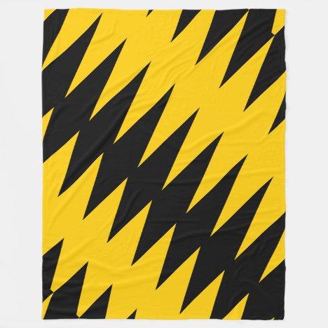 Black & Yellow-Gold Jagged Pattern Fleece Blanket
