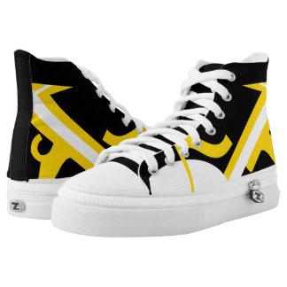 Black Yellow-Gold White Leverage II Custom Hi-Tops Printed Shoes