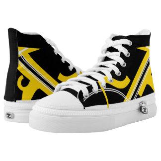 Black Yellow-Gold White Leverage III Custom Hi-Top Printed Shoes
