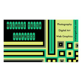 Black, Yellow, Gray and Green Block Business Cards