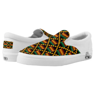 Black Yellow Green Red African Kwanzaa Kente Cloth Printed Shoes