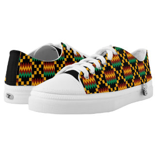Black Yellow Green Red Kwanzaa African Kente Cloth Printed Shoes