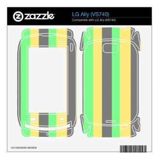 Black yellow green stripe LG ally skins