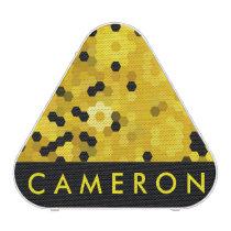 Black Yellow Honeycomb Hexagon Geometric Pattern Bluetooth Speaker