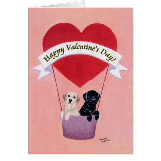 Black & Yellow Labradors Valentine's Day card