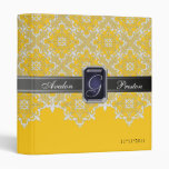 Black & Yellow Lace Jewel Monogram Wedding Binder