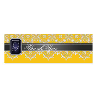 Black & Yellow Lace Jeweled Wedding Favor Tag Double-Sided Mini Business Cards (Pack Of 20)