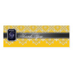 Black & Yellow Lace Jeweled Wedding Favor Tag Business Cards
