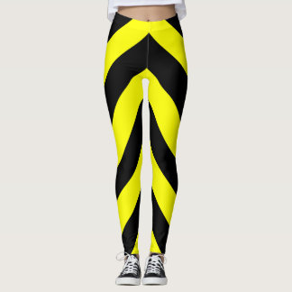Black & Yellow Lines Pattern Leggings