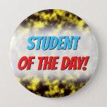 [ Thumbnail: Black & Yellow Misty/Hazy/Cloudy/Foggy Pattern Button ]