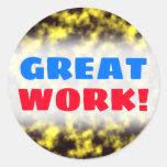 [ Thumbnail: Black & Yellow Misty/Hazy/Cloudy/Foggy Pattern Round Sticker ]