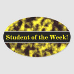 [ Thumbnail: Black & Yellow Misty/Hazy/Cloudy/Foggy Pattern Sticker ]