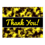 [ Thumbnail: Black & Yellow Misty/Hazy/Cloudy/Foggy Pattern Postcard ]