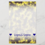 [ Thumbnail: Black & Yellow Misty/Hazy/Cloudy/Foggy Pattern Stationery ]