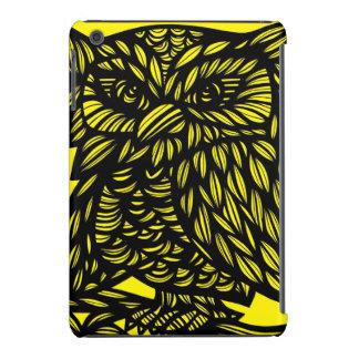 Black Yellow Owl Artwork Drawing iPad Mini Retina Cover