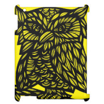 Black Yellow Owl Artwork Drawing Case For The iPad 2 3 4