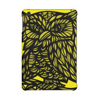Black Yellow Owl Artwork Drawing iPad Mini Case