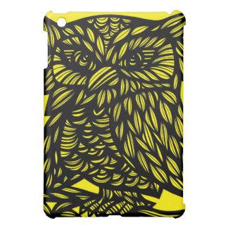 Black Yellow Owl Artwork Drawing iPad Mini Covers