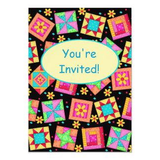 Black Yellow Patchwork Quilt Block Art Invitation