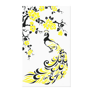Black yellow peacock and cherry blossoms custom gallery wrap canvas