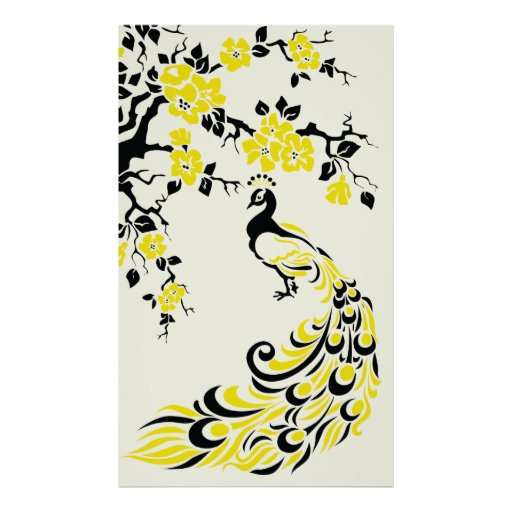 Black yellow peacock and cherry blossoms poster