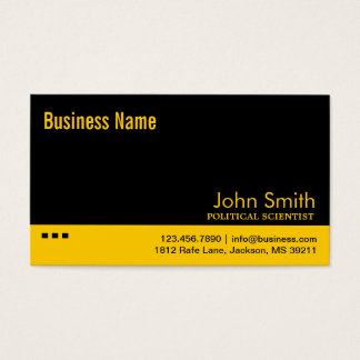 Black & Yellow Political Scientist Business Card