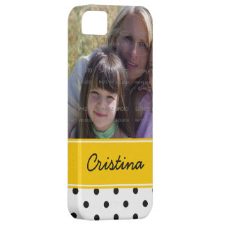 Black Yellow Polka Dots Photo Template Custom Name iPhone SE/5/5s Case