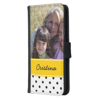 Black Yellow Polka Dots Photo Template Custom Name Wallet Phone Case For Samsung Galaxy S5