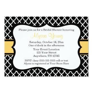Black Yellow Quatrefoil Invitation