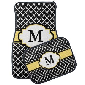 Black Yellow Quatrefoil Monogram Car Floor Mat