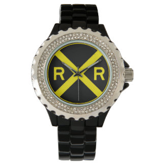 Black & Yellow Railroad Crossing Sign Wrist Watch