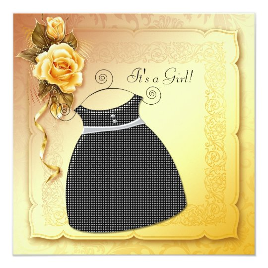 Black Yellow Rose Baby Shower Invitations