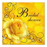 Black Yellow Rose Bridal Shower Invitations