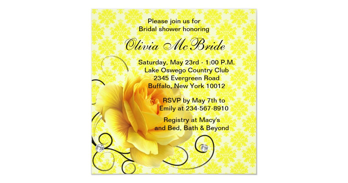 Black yellow rose bridal shower invitations zazzle for Yellow bridal shower invitations