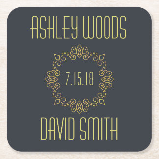 Black Yellow Save The Date Coaster