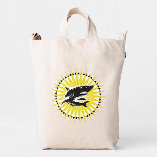 Black Yellow Shark And Sun Illustration Duck Bag