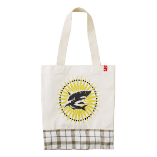 Black Yellow Shark And Sun Illustration Zazzle HEART Tote Bag