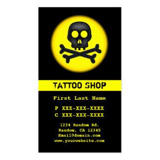 Black yellow skull tattoo custom business cards