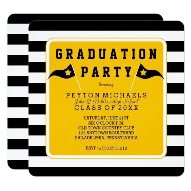 Black |Yellow Sporty Flag Striped Graduation Party Card