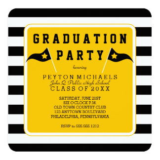 Black |Yellow Sporty Flag Striped Graduation Party 5.25x5.25 Square Paper Invitation Card